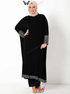 Welcome to Modanisa Etek ve Kol Ucu Desenli Elbise K95 - Siyah - Hüseyin Küçük Big Size<br> Hijab Abaya, Hijab Dress, Hijab Outfit, Big Size Dress, The Dress, Plus Size Dresses, Abaya Fashion, Modest Fashion, Fashion Dresses
