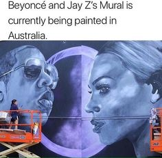 A HUGE mural of Jay Z and Beyonce has been painted on a wall in central Geelong to add colour to the area.  Melbourne artist Danielle Weber was commissioned to complete the mural and has had a lot of positive feedback from passers-by.