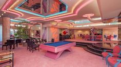"""sleazeburger: """" Ummm this deco neon mansion outside of Palm Springs is on the market. Any sexxy investors wanna throw me 12 million dollars? Interior Architecture, Interior And Exterior, Retro Interior Design, 1980s Interior, Villa, Girl Cave, Cool Rooms, Awesome Bedrooms, Dream Rooms"""