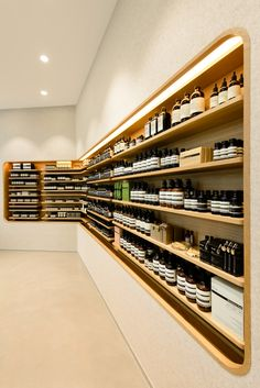 aesop continues to expand its retail network in hong kong. the newest store has just opened at festival walk mall. Shop Interior Design, Retail Design, Store Design, Interior Decorating, Muji Store, Aesop Store, Hospital Design, Store Interiors, Retail Interior