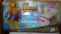 "Hannah Montana Disney Twin Comforter 66"" X 86"" by Disney. $26.00. ""Hannah Montana"" printed in the middle. Primary colors are green and a light purple. Hannah Montana Disney Twin Comforter 66"" X 86"". ""Hannah Montana"" printed in the middle green section. The outer wide border of comforter is the light purple."