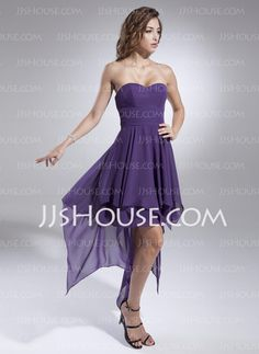 Prom Dresses - $108.99 - A-Line/Princess Sweetheart Asymmetrical Chiffon Prom Dresses With Ruffle (018015523) http://jjshouse.com/A-Line-Princess-Sweetheart-Asymmetrical-Chiffon-Prom-Dresses-With-Ruffle-018015523-g15523