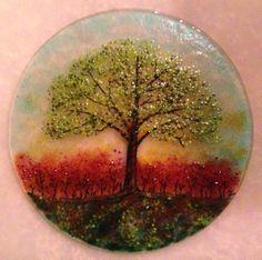 """Solitary Tree. 10"""" Round and fitted on half circle stand. """"As You Wish"""" by Janelle."""