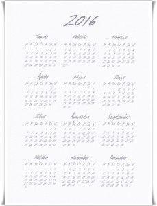 2016 éves naptár Word Search, Words