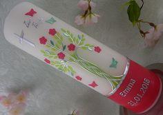 Taufkerze Lebensbaum grün silber pink Taufkerzen für Mädchen mit Name ind Datum Handmade Candles, Coffee Bottle, Candle Making, Christening, Unique Gifts, Planter Pots, Etsy, Pink, Modern