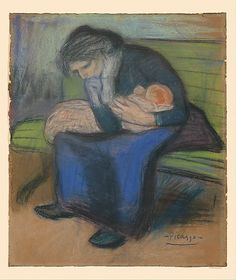 Mother and Child on a Bench - Pablo Picasso 1901
