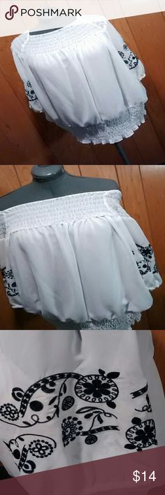 Alfani blouse 2x peasant blouse Pretty white blouse. Wife elastic at top and bottom. Can be also worn off the shoulders. Beautiful embroidered sleeves in black. Alfani Tops Blouses