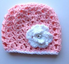 Pink lacy baby hat crochet baby beanie by BloomingRoseCrochet, $14