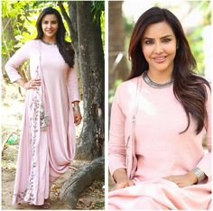 Priya Anand blush pink color designer dress for  Kootathiloruthan Promotions in Madurai . 04 August 2017