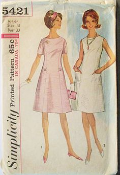 1960s Vintage Sewing Pattern Simplicity 5421 Juniors One-Piece Dress Pattern Size 13 Bust 33 by SewYesterdayPatterns on Etsy