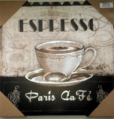 Coffee Theme Espresso Paris Cafe Bistro Canvas Pictures Home Decor New
