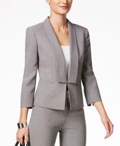 Kasper Printed Shawl-Collar Jacket