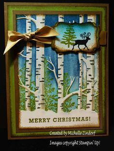 Woodland Christmas Stampin' Up! Card created by Michelle Zindorf using the Woodland Embossing Folder, Greetings from Santa & Lovely As a Tree