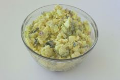 """""""No Potato"""" Salad 2 heads cauliflower 1 dz eggs, boiled & diced 1/2 med red onion, diced 8 celery stalks, diced 3 cucumbers diced & placed in vinegar w/dill & garlic 1½ cups nonfat plain Greek yogurt 2T dried dill 1t minced garlic 1t mustard pepper Cut cauliflower florets & steam/10 min, tip tender not mushy. Rinse steamed cauliflower under cold water Drain & pat dry. Crumble cauliflower in mixing bowl, +remaining ingred. Mix well. 84.2 calories, 3.6g fat, 4.95g carbs, and 8.3g protein."""