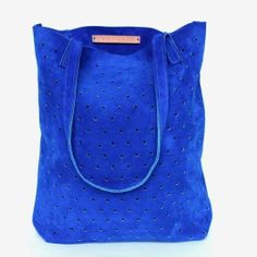 We are in love with this bright cobalt suede tote!