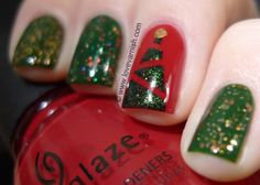 Christmas Manicures - A red and green mish mash