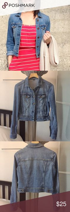 American Eagle Denim Jacket Well-loved and still in great condition. I'd like one more fitted these days. This one is off to a new home. 99% cotton 1% spandex. ❤️no trades. American Eagle Outfitters Jackets & Coats Jean Jackets