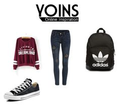 """""""YOINS SWEATSHIRT"""" by almaaa789 ❤ liked on Polyvore featuring Converse, adidas Originals and yoins"""