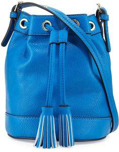 Neiman Marcus Side-Tassel Small Bucket Bag, Cobalt