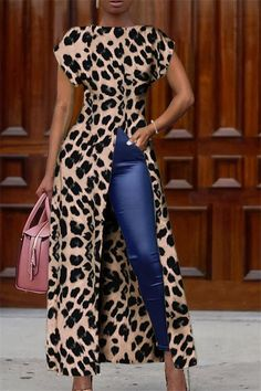 Fashion Tips For Women Suits Fashion Round Collar Short Sleeve High Slit Zipper Leopard Print Sexy milaio Latest African Fashion Dresses, African Print Fashion, African Attire, African Dress, Chic Outfits, Fashion Outfits, Womens Fashion, Fashion Blouses, Fashion Tips