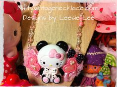 Hello Kitty Panda Bear Necklace SO Kawaii by NiftyVintageGirl, $45.00 Hello Panda, Panda Bear, Hello Kitty, I Love To Run, To My Mother, Strawberry Shortcake, Color Themes, My Little Pony, Create Yourself