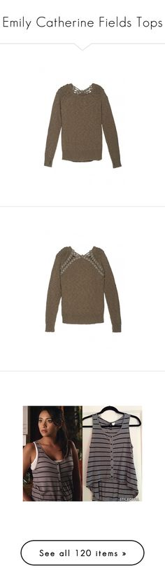 """""""Emily Catherine Fields Tops"""" by taught-to-fly19 on Polyvore featuring tops, sweaters, brown sweater, knit tops, knit sweater, brown tops, lace back top, lace back sweater, studded tank top e v-neck tank top"""