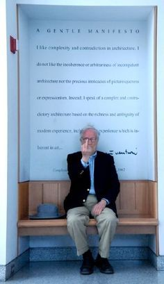 Does this count as an architect pointing? Robert Venturi offers a gentle manifesto.