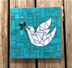 Stained Glass Mosaic Wall Hanging/ Mosaic Plaque/ White Dove/
