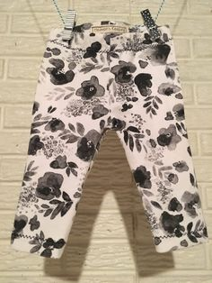 Black and White Floral Leggings by HeavensKeeping on Etsy
