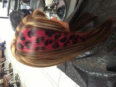 Hot pink and black cheetah print hair Facebook.com/hairbysara1986 #cheetah #haircolor