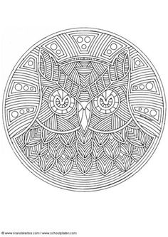 mandala owl colouring-could also mark make using fine liners.