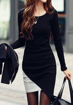 Super cute little black dress. | Colorblocked Body-Con Dress by Lookbook Store