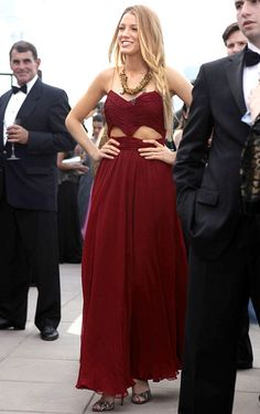 'In Season 4 Serena van der Woodsen (Blake Lively) wore a J. Mendel gown, a Dannijo necklace, and Brian Atwood heels'