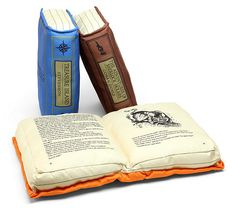 Alice in Wonderland, Sherlock Holmes and Treasure Island Book Pillows. These Olde Book Pillow Classics look great in your reading nook, plus they give you something to prop your neck on while you're nose-deep in a book. Objet Wtf, The Purple, Book Pillow, Pillow Talk, Book Lovers Gifts, Book Gifts, Any Book, Book Nooks, I Love Books