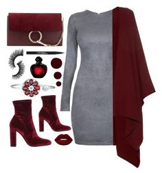 """Dark red and gray!!!"" by sanela-enter ❤ liked on Polyvore featuring Steve Madden, Chloé, The Row, Lime Crime, Trish McEvoy and Lauren B. Beauty"