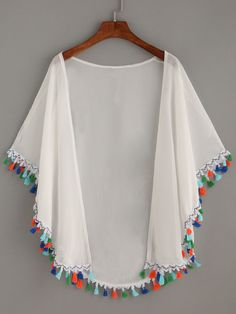 Discover thousands of images about Shop White Tassel Trimmed Chiffon Kimono online. SheIn offers White Tassel Trimmed Chiffon Kimono & more to fit your fashionable needs.Size Available: one-size Length(cm): Sleeve Length(cm): Bust(cm): Fabric: Fabric Hijab Fashion, Diy Fashion, Fashion Dresses, Fashion Design, Fashion Top, Vintage Fashion, Chiffon Kimono, Chiffon Tops, White Chiffon
