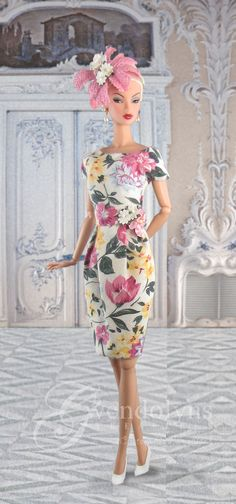 New fashion from Gwendolyns Treasures for Victoire and Silkstone dolls. Soft floral print dress is fully lined with a flower embellishment Doll Fancy Dress, Barbie Dress, Barbie Clothes, Pink Dress, Doll Dresses, Beautiful Dresses, Nice Dresses, Floral Fascinators, Plastic Girl