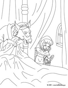 THE LITTLE RED RIDING HOOD fairy tale coloring page