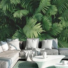 Ferns Adhesive Mural 4 Panels: wide x 96 tall cm x 244 cm) 6 Panels: wide x 96 tall cm x 244 cm) 8 Panels: wide x 96 tall cm x 244 cm) *Please note: Each mural panel is wide and 96 tall. Squeegee included with every mural purchase -Peel-N-Stick, Adhesive 3d Wallpaper Design, Interior Wallpaper, Home Wallpaper, Adhesive Wallpaper, Sticky Wallpaper, Wall Design, House Design, Tropical Bedrooms, Tropical Interior