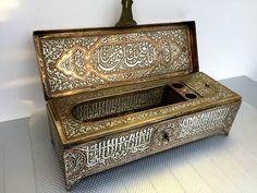 Huge Islamic Qalamdan Pen Box Silver Inlay Mamluk Cairoware Ottoman Arabic 40cm