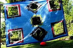 This would make a GREAT family reunion or back yard lawn game. All you need is a tarp and some duct tape. Inexpensive, easy & fun!