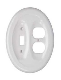 Switchplates White Porcelain Recessed Oval Toggle Outlet