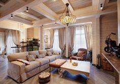 Интерьер дома из клееного бруса может быть и стильным, и элегантным.