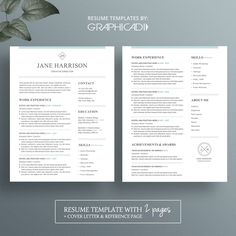 Cv  Resume Template And Cover Letter  Etsy Group Board  Amazing