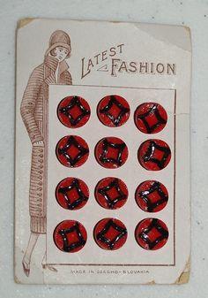 ButtonArtMuseum.com - Latest Fashion Decorative Made in Czechoslovakia Buttons CA 1920s