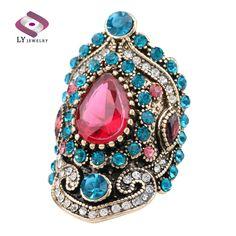 Women's Turkey Jewelry Pink Vintage Big Wedding Rings Plating Gold Mosaic Sapphire Crystal Fashion Love Gift on AliExpress