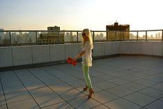 orange bag mint pants * Mint Pants, Orange Bag, My Dream, My Style, Cute, Bags, Fresh, Spring, Fashion