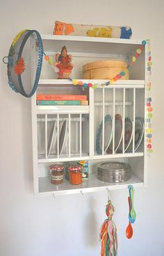 Simple White plate rack good backdrop for colourful kitchen bits! & Country Kitchen Wood Wall Shelf Plate Storage Organizer Rack Black ...