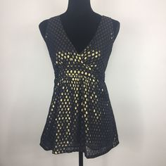 💸🔥Blue & Gold French Connection Polka Dot Top🔥 Be the star of the show in this glittery top!! Perfect for a night out on the town or dress it down to wear during the day!   🎉HOST PICK🎉 All in the Details Party - @angel10  ✨Make an offer now! ✨  Measurements and materials coming soon! ✨ French Connection Tops