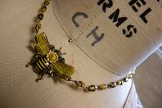 Honey Bee Necklace made from a Vintage Tin by FernStreetDesigns, $38.00
